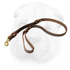 Shar Pei Leash Made of Leather