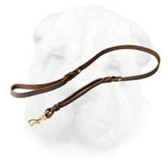 Leather Shar Pei Leash Equipped with Two Handles