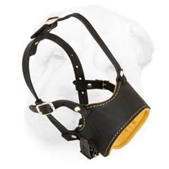 Open Ended Leather Muzzle for Shar Pei with Nappa Padding