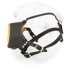 Everyday Shar Pei Leather Muzzle with Soft Nappa Padding and Open-Ended Construction