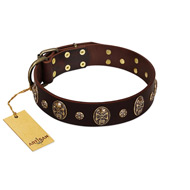 """Breaking the Horizon"" FDT Artisan Brown Leather Sharpei Collar with Engraved Studs and Medallions"