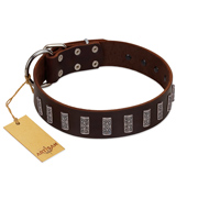 """Brown Lace"" Handmade FDT Artisan Brown Leather Sharpei Collar for Everyday Walks"