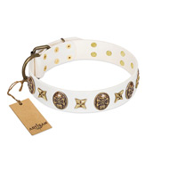 """Fads and Fancies"" FDT Artisan White Leather Sharpei Collar with Stars and Skulls"