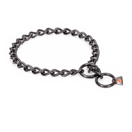 """Fur Protector"" Black Stainless Steel Sharpei Choke Collar - 1/6 inch (4 mm) wire diameter"