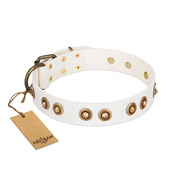 """Moonlit Stroll"" White FDT Artisan Leather Sharpei Collar with Antique Decorations"