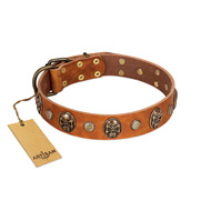 """Call of Feat"" FDT Artisan Tan Leather Sharpei Collar with Old Bronze-like Studs and Oval Brooches"