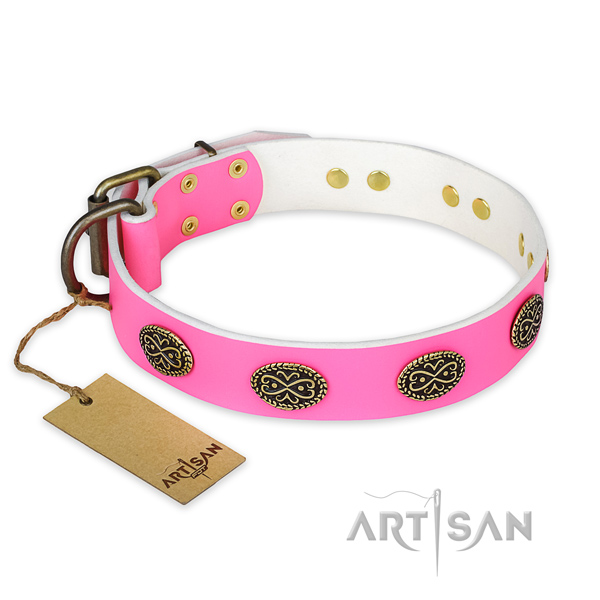 Exceptional full grain leather dog collar for handy use