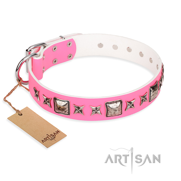 Full grain natural leather dog collar made of top rate material with corrosion resistant buckle