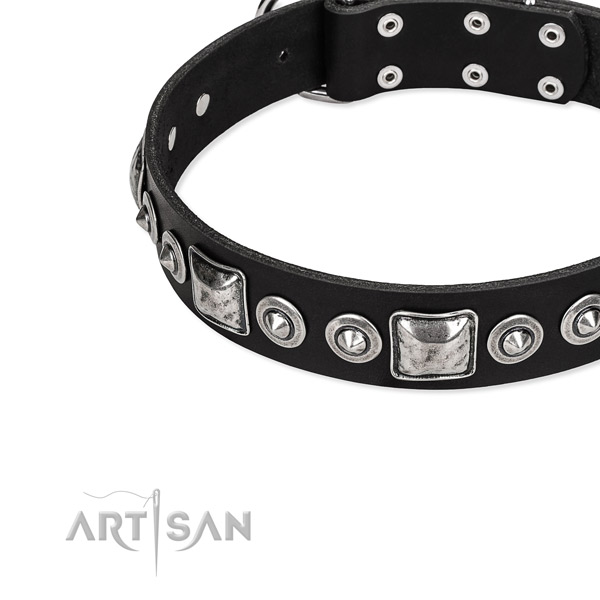 Natural genuine leather dog collar made of soft material with adornments