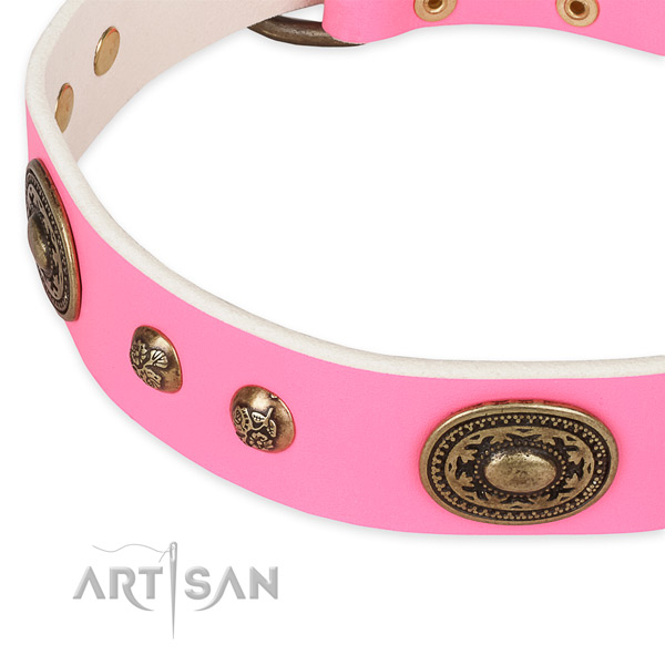 Easy to adjust natural genuine leather collar for your beautiful doggie