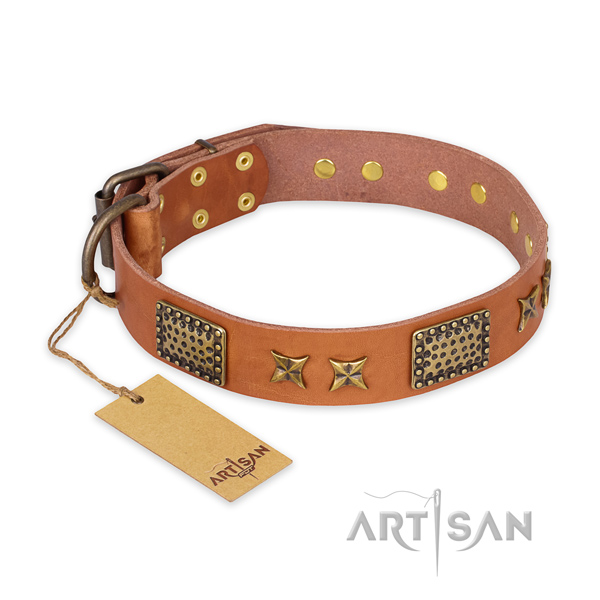 Perfect fit natural genuine leather dog collar with durable buckle
