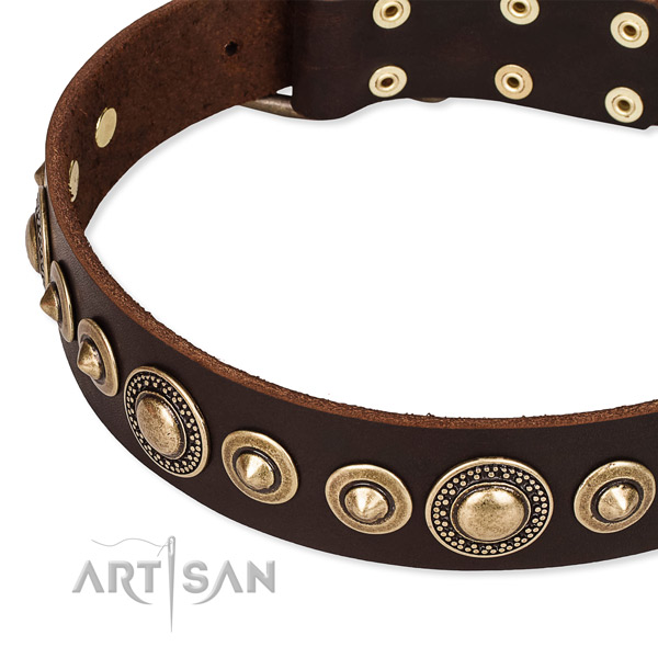 Soft to touch full grain leather dog collar handcrafted for your lovely doggie
