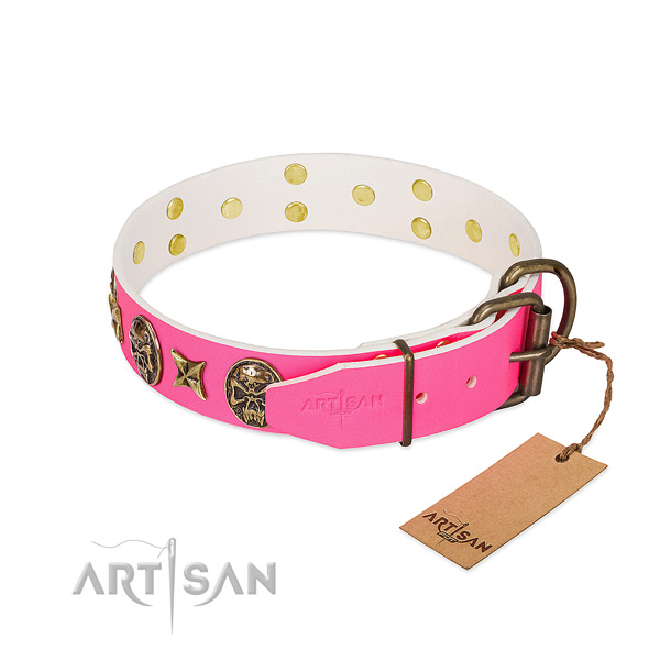 Durable traditional buckle on full grain genuine leather collar for daily walking your pet