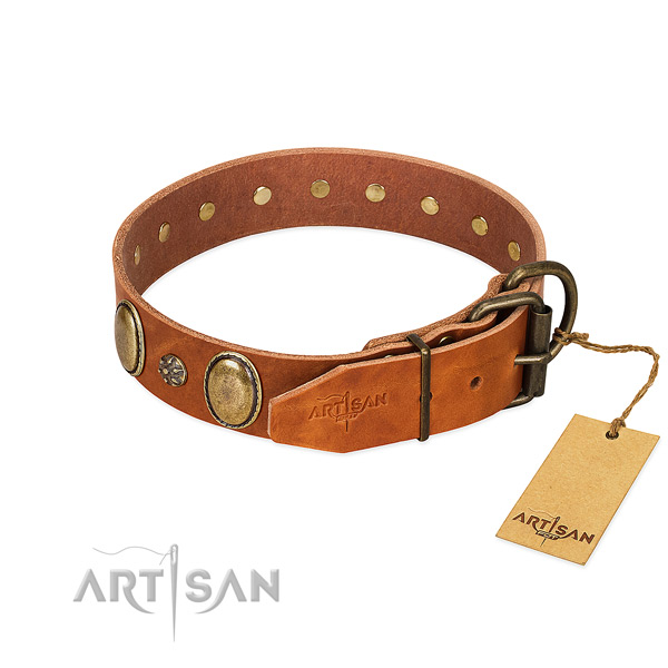 Comfy wearing soft to touch full grain natural leather dog collar