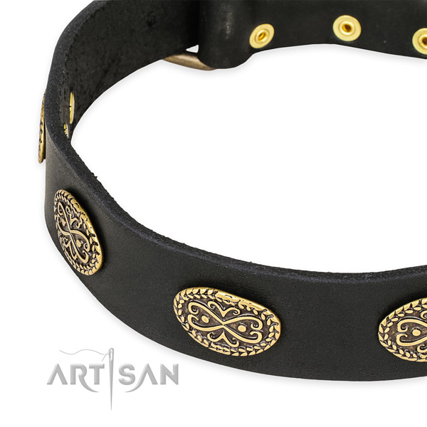Inimitable full grain natural leather collar for your attractive pet
