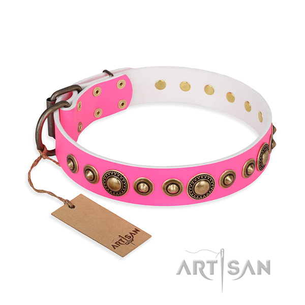 Top notch natural genuine leather collar created for your doggie