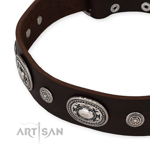 Top rate full grain genuine leather dog collar handmade for your handsome canine
