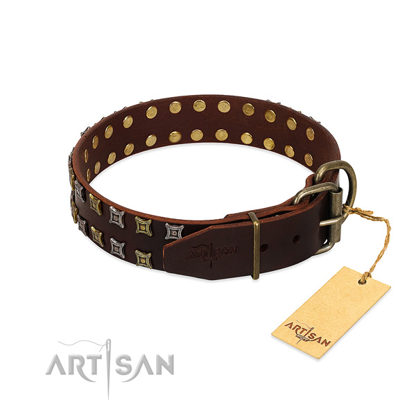 Durable full grain leather dog collar created for your dog