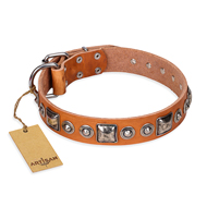 """Era of Future"" FDT Artisan Handcrafted Tan Leather Sharpei Collar with Decorations"