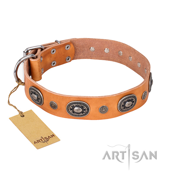Gentle to touch natural genuine leather collar handmade for your canine