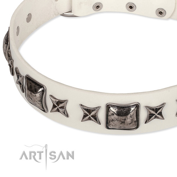 Easy wearing studded dog collar of durable full grain genuine leather