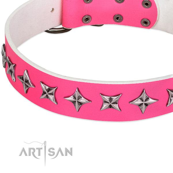Stylish walking decorated dog collar of reliable genuine leather