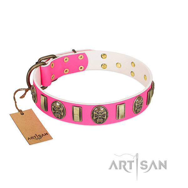 Strong fittings on genuine leather dog collar for your pet