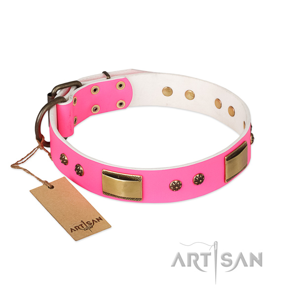 Stylish design full grain natural leather collar for your pet