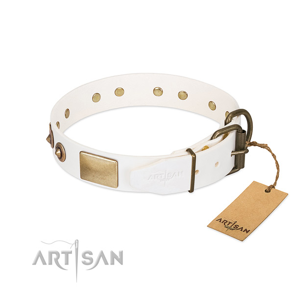 Rust resistant fittings on genuine leather dog collar for your doggie