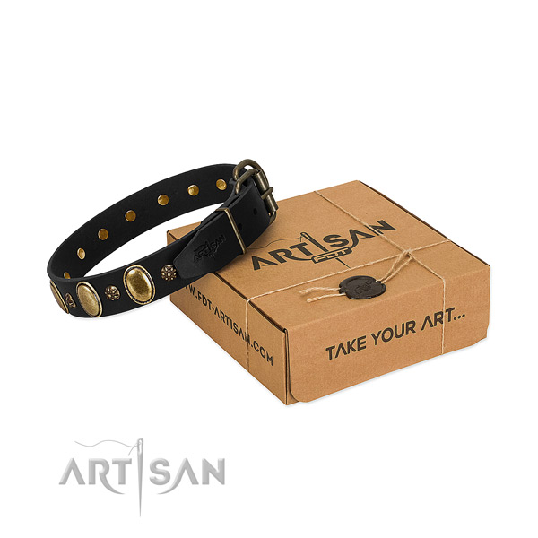 Handy use soft to touch natural genuine leather dog collar with embellishments