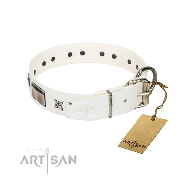 Handcrafted collar of full grain natural leather for your impressive dog