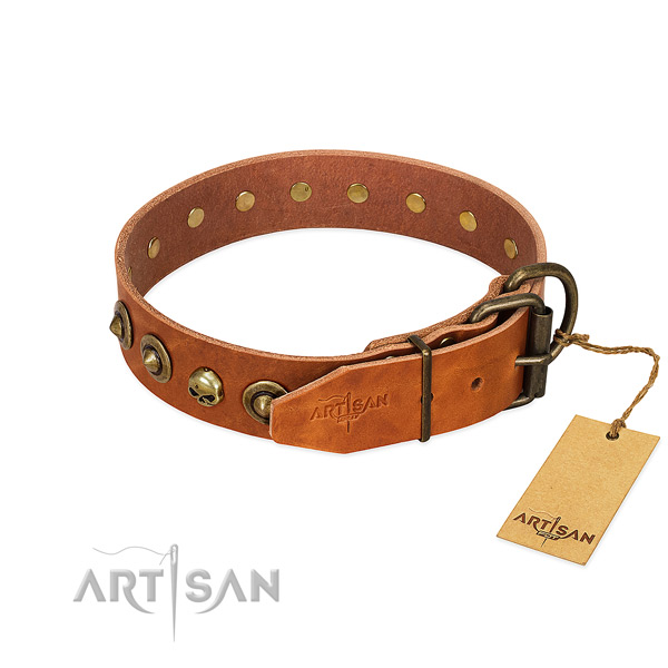 Full grain natural leather collar with unusual decorations for your pet