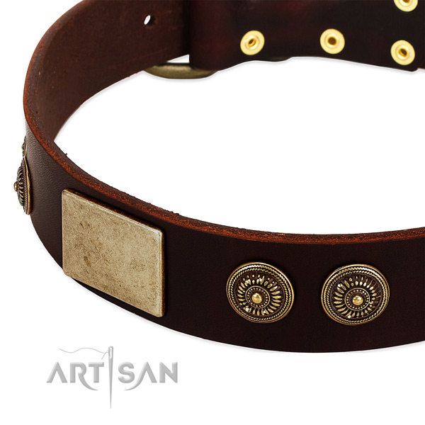 Strong fittings on genuine leather dog collar for your four-legged friend