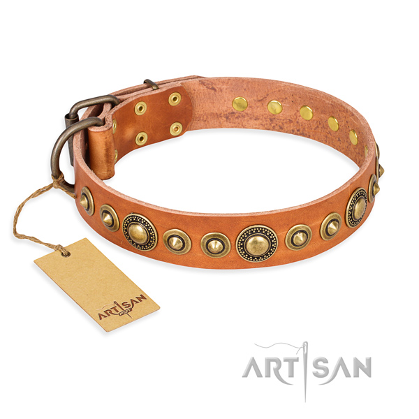 Strong full grain genuine leather collar made for your four-legged friend