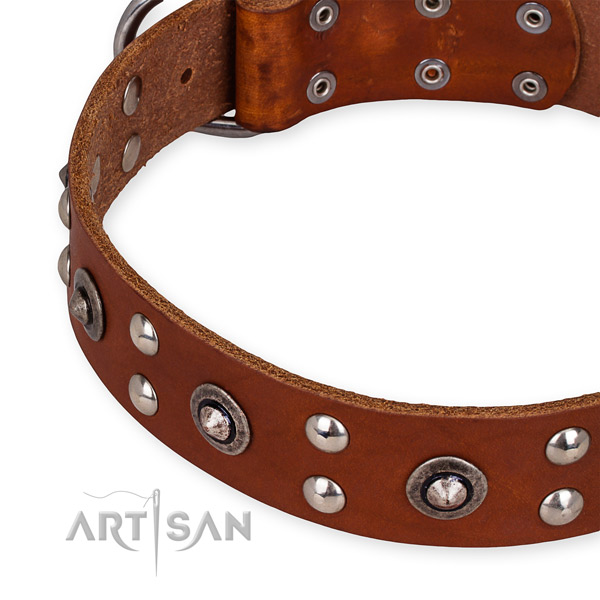 Genuine leather collar with corrosion resistant buckle for your handsome doggie
