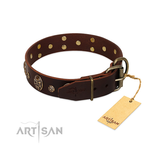 Corrosion resistant fittings on full grain leather dog collar for your doggie