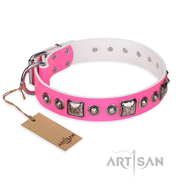 Leather dog collar made of top rate material with strong hardware