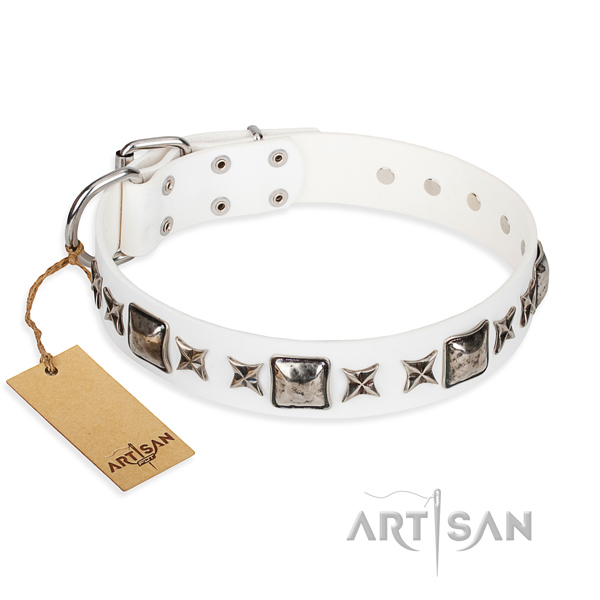Leather dog collar made of top notch material with durable buckle