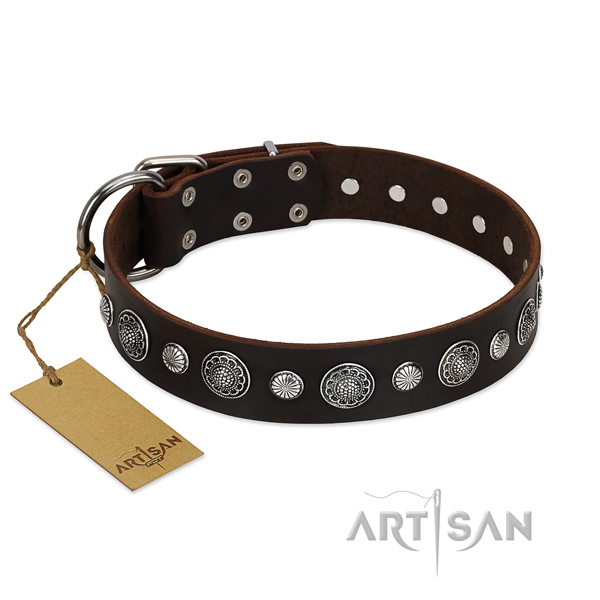 Strong full grain genuine leather dog collar with designer decorations