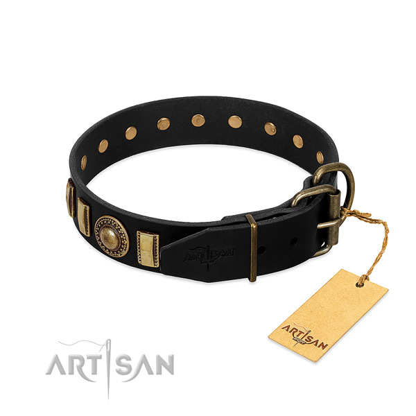 Strong natural leather dog collar with decorations