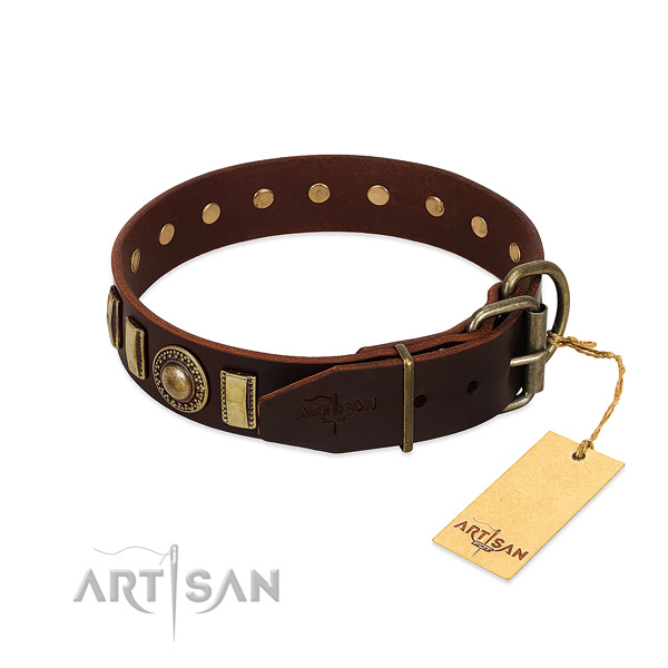 Significant full grain leather dog collar with strong hardware