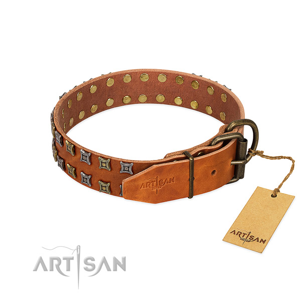 Top rate full grain natural leather dog collar crafted for your dog