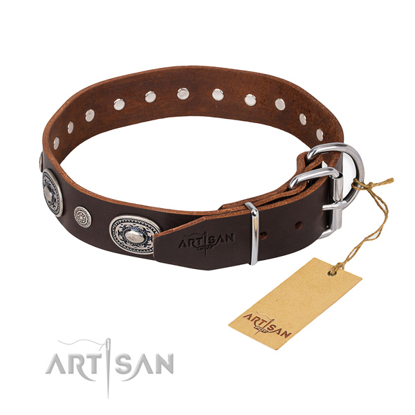 Soft to touch full grain natural leather dog collar made for daily use