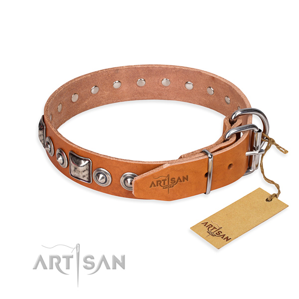 Full grain natural leather dog collar made of quality material with durable studs