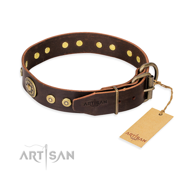 Full grain natural leather dog collar made of gentle to touch material with rust-proof embellishments