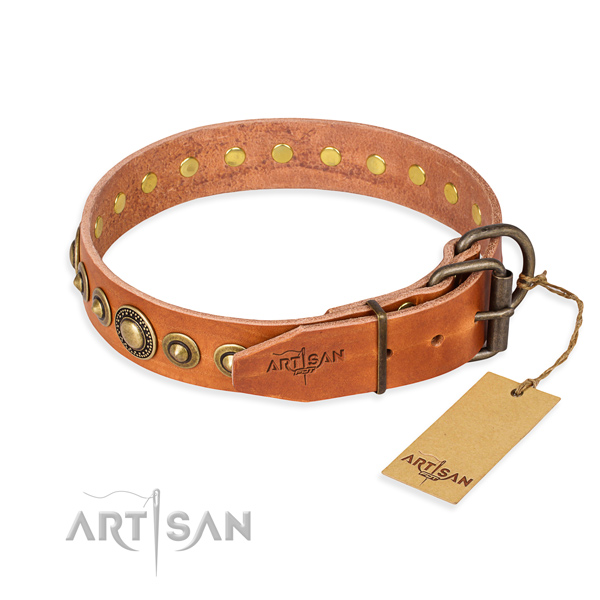 Soft to touch full grain genuine leather dog collar crafted for comfortable wearing