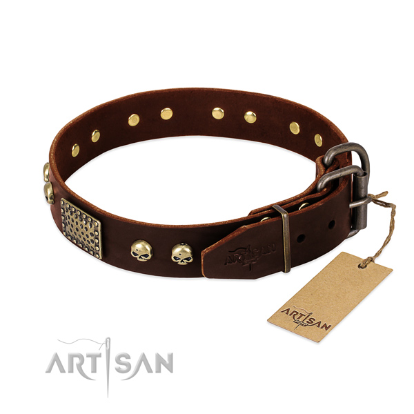 Durable studs on easy wearing dog collar