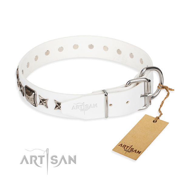 Durable decorated dog collar of full grain genuine leather