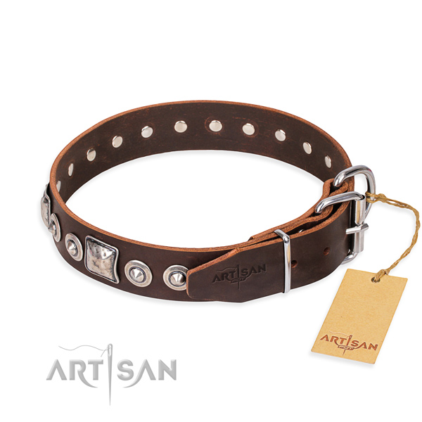 Full grain genuine leather dog collar made of top notch material with rust resistant decorations