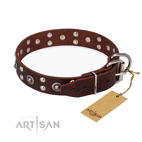 Corrosion proof buckle on full grain genuine leather collar for your beautiful pet